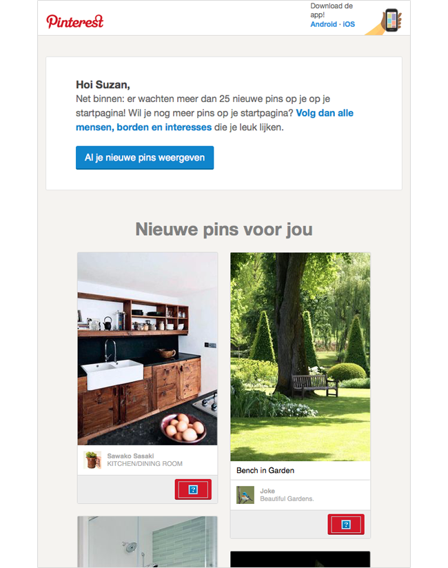 Activatie e-mail Pinterest